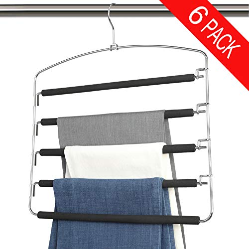 Bloberey Pants Hangers 5 Layers Metal Slack Magic Hangers Non-Slip Foam Padded Swing Arm Space Saving Hanger Space Saver Clothes Closet Storage Organizer for Pants Jeans Trousers (6 Pack)