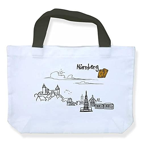 Einkaufstasche Skyline Nürnberg - als Geschenk für Nürnberger & Fans der Frankenmetropole oder als Nürnberg Souvenir - die stadtmeister