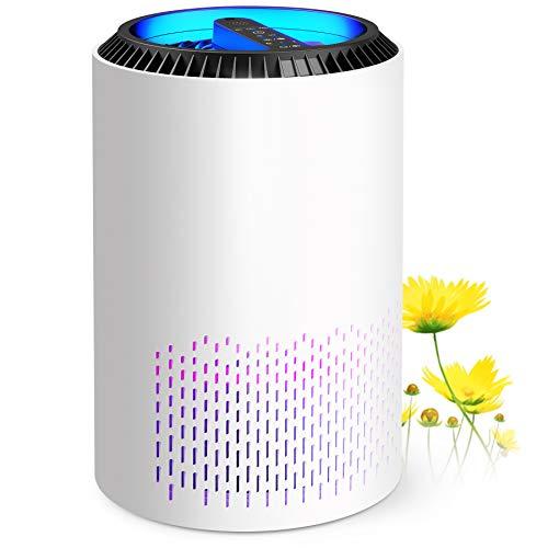 Purificador de aire con H13 HEPA, Air Purifier hasta 20 m², elimina el 99,97% de partículas, ámpara UV e Función Aromaterapia, 22 dB modo de sueño silencioso y temporizador, con 3 velocidades,Blanco