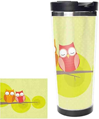 14oz(413ml) Cute Owl Couple Stainless Steel Water Bottle Leak-Proof Vacuum Insulated Flask Pot Sport Double WallTravel Thermo