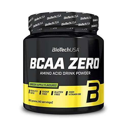 BioTechUSA BCAA Zero Bevanda in polvere di aminoacidi aromatizzata senza zucchero, con L-leucina, L-isoleucina e vitamina B6, 360 g, Mela