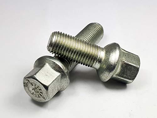 Levando 20 Stück Radschrauben M12x1,5 35mm Schaftlänge Kugelbund R12 D = 24mm SW17 – Radbolzen-Set passend für Mercedes-Benz Modelle (Radschraube Kugel R12), Farbe Silber
