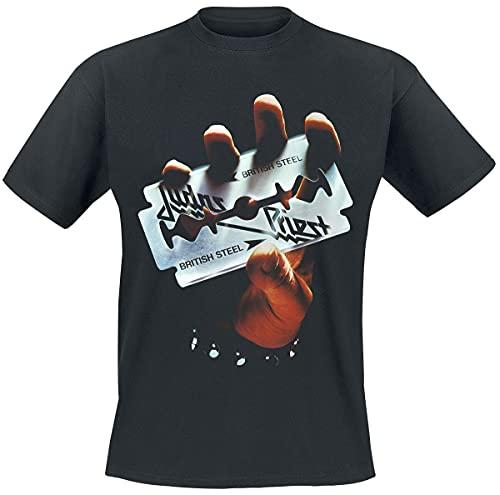 Judas Priest British Steel Album Tracklist Hombre Camiseta Negro XXL, 100% algodón, Regular