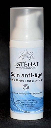 ESTÉNAT- Sérum anti-âge Français qualité bio, anti-rides, antioxydant grand flacon 50ml. Ingrédients naturels de haute qualité : souplesse et vitalité de votre peau dès la première application