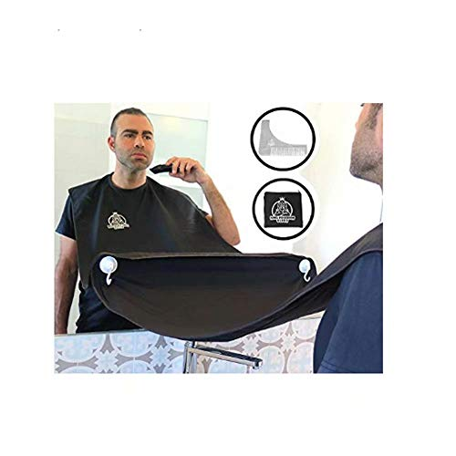 KING POSEIDON Beard Shaving Bib Apron Beard Catcher Kit with Stainless Steel Beard Shaping Tool Comb, Hair Clippings Cape for Shaving, Premium Grooming Kit for Men, Perfect Gift for Fathers Day, Black