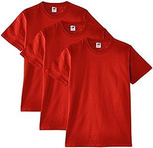Fruit of the Loom Heavy Cotton Tee Shirt 3 Pack, Camiseta de Manga Corta Para Hombre, Rojo (Rot), Small
