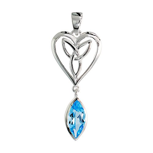 Sterling Silver Genuine Blue Topaz Triquetra Pendant Celtic Heart, 1 1/4 inch Long