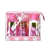 Vital Luxury Sweet Pea Bath & Body Care Travel Set – Refreshing Home Spa Gift Set Includes Body Lotion, Shower Gel, and Fragrance Mist - Enriched with Natural Extracts for Men & Women - 3 Fl Oz Each