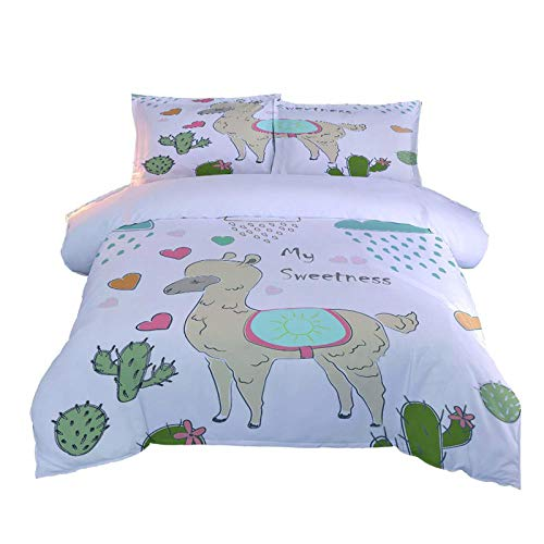 KHGAHD Duvet Cover Set Single/Double Size Bed Cover Set Bedding Pillow Cover,Sheep Cactus Heart For Home Decoration-155cmX220cm