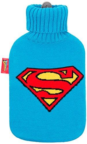 Excelsa Superman Sac l'eau Chaude, Caoutchouc/Tissu Acrylique, Bleu, 36 x 20 x 5 cm