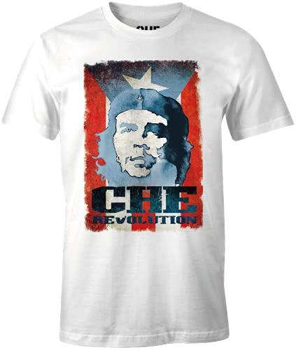 Che Guevara MECHEGDTS007 Camiseta, Blanco, XL para Hombre