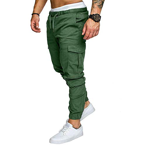 IsFashion Jogger Cargo Pants for Men, Combat Drawstring Chino Trousers with 4 Pockets Green