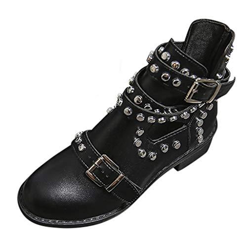 POLP Botas de Tobillo para Mujer con Hebilla Botines Mujer Tacón bajo de 4 cm Negro Zapatos de Tobillo de Fiesta con Tachuelas Otoño Invierno (Ropa)