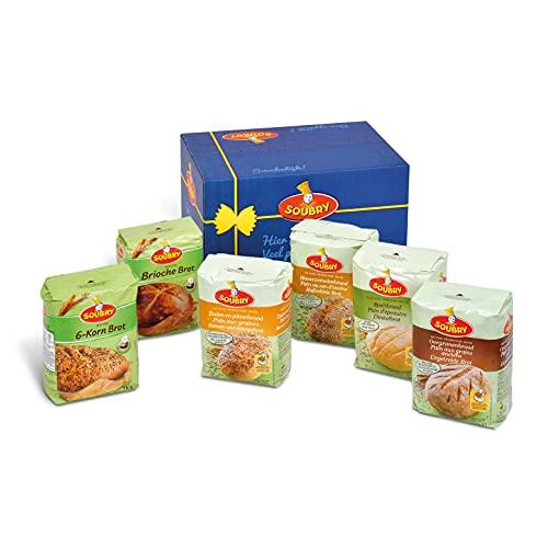 SOUBRY broodmix voor het bakken van volkorenbrood, speltbrood, haverbrood en oven gebakken brood of broodbakmachine brood, MultiPack broodmixen voor broodsoorten set van 6 (6 x 2 Kg)