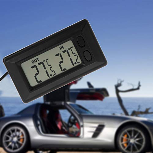 Cuigu Auto-Thermometer, Auto Auto-LCD-Digitalanzeige-Thermometer Mit 1,5 M Kabel, Innentemperaturanzeige, 7,5x4 Cm