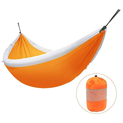 AZZ Elegant Homes Large Rope Hammock Quick Dry Rope Hammock With Double Size Solid Wood Spreader Bar Outdoor Patio Yard Poolside Hammock With Chains (Color : Orange)
