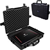CASEMATIX Waterproof Laptop Hard Case for 15-17 inch Gaming Laptops and Accessories - Rugged Heavy Duty Laptop Case for 15.6 and 17.3 inch Alienware, Asus, Razer, Lenovo, MSI, Acer, Dell Notebook