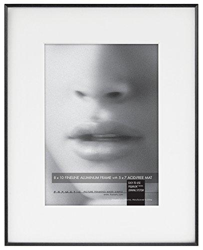 Fineline 8x10 - Marco de Aluminio Mate para Fotos de 5 x 7 cm, Negro, 8x10-5x7 Mat, 1, 1
