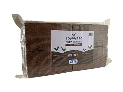 LOMBEC Fibra de Coco Pack de 4 x 650gr (36L) - Ladrillos compactados de Fibra de Coco deshidratada (Peso Neto: 2,6KG) - Medio de Cultivo Ideal para huertos urbanos