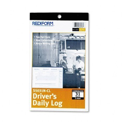 Rediform Products - Rediform - Driver's Daily Log, 5-3/8 x 8-3/4 , Carbonless Duplicate, 31 Sets/Book - Sold As 1 Each - Daily record with hours summary. - Vehicle report on back of original with odometer start and finish, mileage today, time in, sto