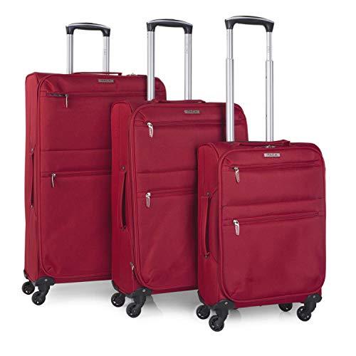 ITACA - Juego Maletas de Viaje Blandas 4 Ruedas Trolley 55/68/77 cm poliéster eva. Extensibles Ligeras y s. Mango y Asas. Cabina Low Cost Mediana y Grande. i52700, Color Rojo