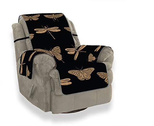 JOCHUAN Seamless Pattern Embroidered Insects Golden Butterflies The Sofa Cover Fitted Chair Slipcover Plush Sofa Cover Furniture Protector for Pets, Kids, Cats, Sofa