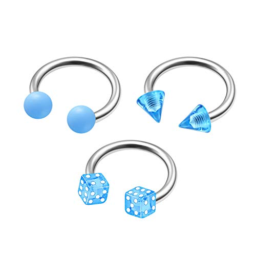 3Pcs Steel 16g 5/16 8mm Barbell Horseshoe Piercing Jewelry Helix Cartilage Daith 3mm Light Blue Cone Ball Dice Acrylic M9918