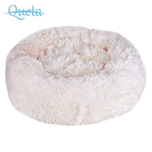 Queta Deluxe-Haustierbett,für Katzen und kleine bis mittelgroße Hunde,Leicht zu reinigen,Bett für Haustiere in Doughnut-Form (Weiß)