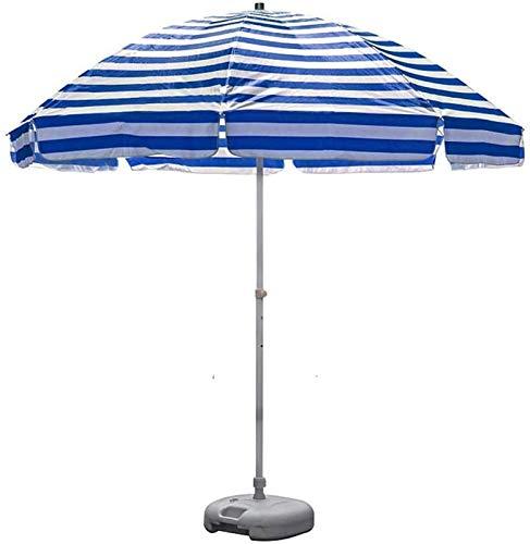 Sombrilla Parasol Jardin 8.2 'Playa de rayas portátil UV 50+, paraguas de patio al aire libre, paraguas de mesa de mercado con 8 costillas y cigüeñas robustas, con base de parasol a prueba de viento