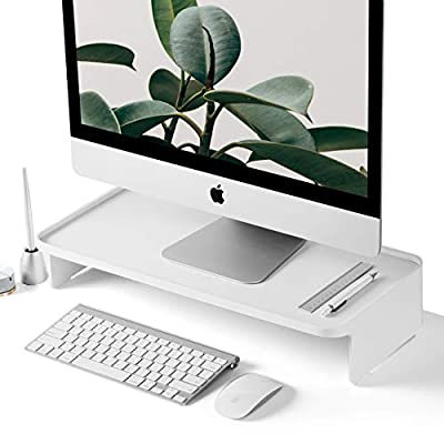 Monitor Stand Riser [Zero Assembly] Desk Organizer Accessories with Pen Holder for iMac, Desktop Computer Monitors - White