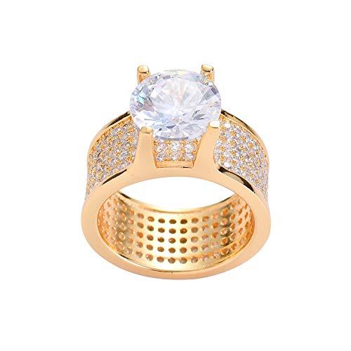 Modow Anillos Hombre Hip Hop Copper Bling Micro Incrustado Zircón Cúbico Chapado en Oro con Enorme Diamante,Oro,11
