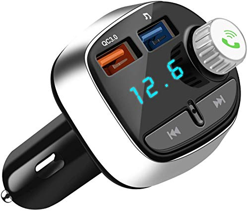 Bluetooth 5.0 FM Transmitter for Car, BULESK QC3.0 Wireless Bluetooth FM Radio Adapter and Receiver, Hands-Free Calling, Car Charger with 2 USB Ports, Music Player Support TF Card, USB Flash (Black)