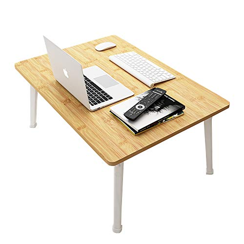 Laptop Bed Table, Bed Desk for Laptop and Writing with Folding Legs, Portable Lap Standing Desk, Notebook Stand Reading Holder for Couch Sofa Breakfast TV Tray,Desktop Large 60-40 cm,Bamboo Wood