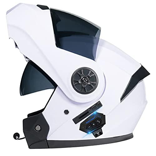 ABDOMINAL WHEEL Bluetooth Integrado Casco De Moto Modular,Cascos De Motocicleta con Doble Visera,Unisex para Respuesta Automática Bluetooth Casco,ECE Homologado Casco De Moto K,M=57~58CM