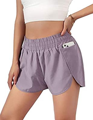 "Blooming Jelly Womens Quick-Dry Running Shorts Sport Layer Elastic Waist Active Workout Shorts with Pockets 1.75"" (x-Small, Purple)"
