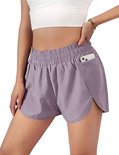 Blooming Jelly Womens Quick-Dry Running Shorts Sport Layer Elastic Waist Active Workout Shorts with Pockets 1.75' (Small, Purple)