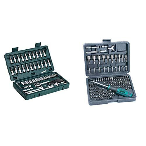 MannesmannM 2040Juego de llaves de vaso 1/4', 46 piezas + 29896Juego de puntas de destornillador, 122 piezas