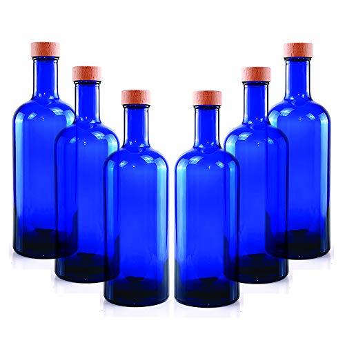 BrandPrint, Set di 6 Bottiglie in Vetro Blu per Acqua solarizzata Modello Iside 750 ml con Tappo a Vite in Alluminio Rivestito In Legno. Bottiglia Plastic Free