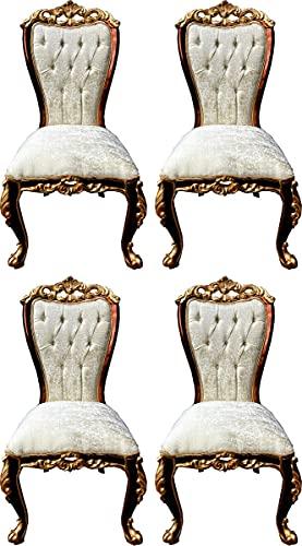 Casa Padrino Conjunto de sillas de Comedor Barroco de Lujo Crema/marrón/Oro - 4 Sillas de Cocina Hechas a Mano en Estilo Barroco - Muebles de Comedor barrocos - Noble y Magnífico
