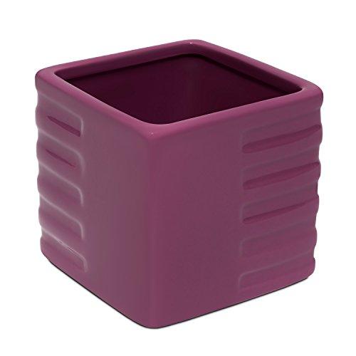 Vaso in ceramica quadrato serie AMSTERDAM di Polnix, altezza 14,5 cm, colore: viola