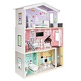 boppi Casa de muñecas de Madera para niñas con 3 Pisos, acensor, Villa de Ciudad + Accesorios de Muebles