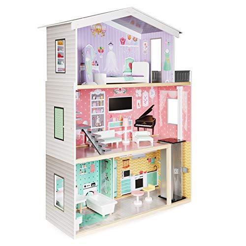 boppi Maison de poupées en Bois à Trois étages avec Un Ascenseur et 10 Meubles Accessoires