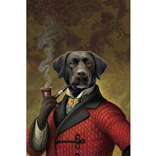 tzxdbh zwart en wit stijlvolle hond kat wolf vos muur kunst affiches en afdrukken dier het dragen van een hoed veer canvas schilderij huisdecoratie 28X36cm 50