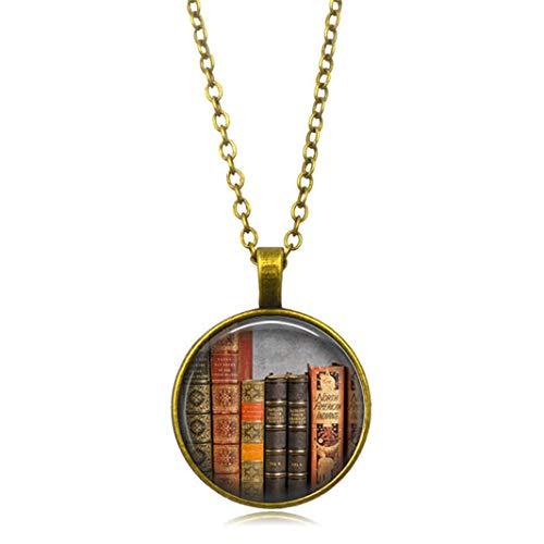ZHDXW Collar de biblioteca de aleación con colgante redondo y colgante retro collar colgante suéter cadena grande círculo redondo gota joyería señoras regalo conmemorativo (bronce)
