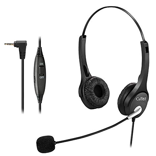 2,5mm Telefon Headset Dual mit Noise Cancelling Mikrofon, Callez Festnetz Kopfhörer für Siemens Gigaset C430A S810 Panasonic Grandstream Cisco Linksys SPA Polycom Dect Schnurlostelefon
