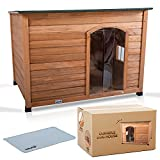 LuckyPup Wooden Dog House   Insulated Dog House for X-Large Dogs   Weatherproof Outdoor Dog House with Window, Slanted Roof, and Removable Floor   Mat Included   46 x 31 x 32 inches (LxWxH)