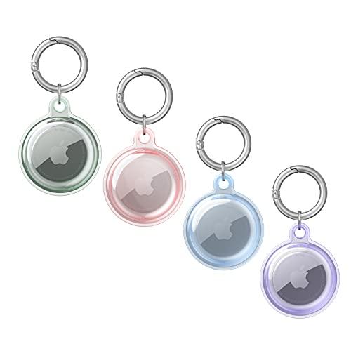 Funda Airtags, 4 paquetes de llavero Apple Airtag, soporte protector para llaves, cartera, collar de perro