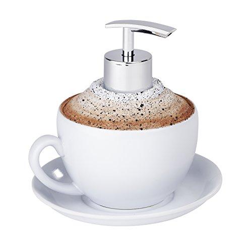WENKO 54630100 Seifenspender Cappuccino, Flüssigseifen-Spender, Spülmittel-Spender Fassungsvermögen: 0,23 l, Polyresin, 13,3 x 13,5 x 13,3 cm, weiß