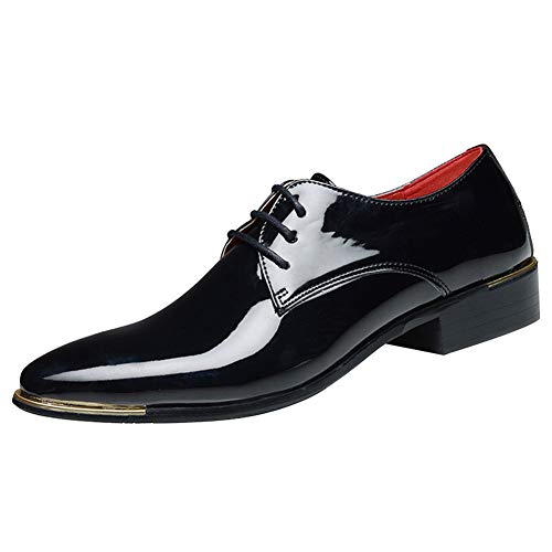 zpllsbratos Men's Lace-Up Oxford Patent Leather Pointed Toe Business Formal Wedding Dress Shoes(Black,US 13.5)