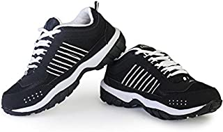 Chazer Men's Black and White Synthetic Running Shoes (CHAZER) - 8